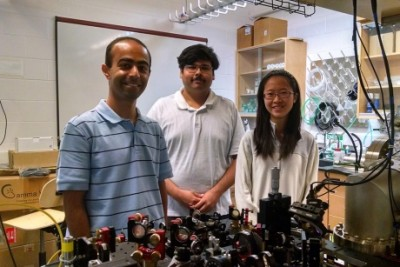 Anne Ju/Cornell Chronicle Mukund Vengalattore, left, Yogesh Patil and Laura Chang '15 in the Ultracold Atomic Physics Lab in Clark Hall, where they conducted their experiments.