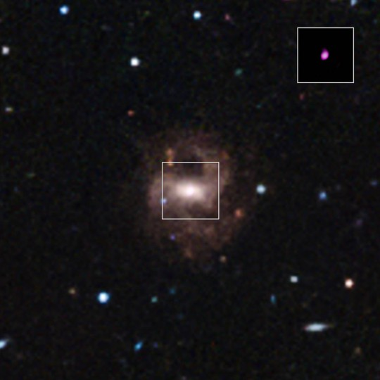 A Sloan Digital Sky Survey image of RGG 118, a galaxy containing the smallest supermassive black hole ever detected. The inset is a Chandra image showing hot gas around the black hole. Credits: NASA/CXC/Univ of Michigan/V.F.Baldassare, et al; Optical: SDSS