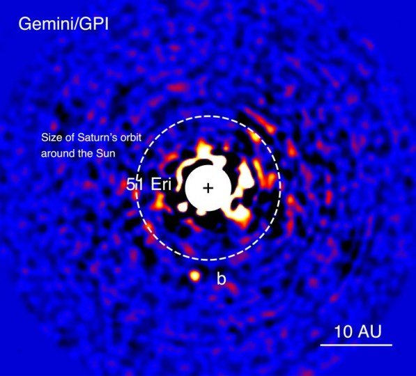Discovery image of the exoplanet 51 Eridani b taken in the near-infrared light with the Gemini Planet Imager on Dec. 21, 2014. The bright central star has been mostly removed to enable the detection of the million-times fainter planet. Credits: Gemini Observatory and J. Rameau (UdeM) and C. Marois NRC Herzberg