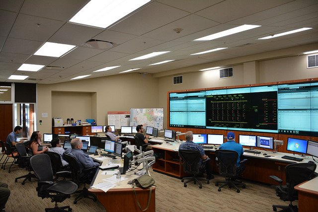 In the first industry use of the SEB, industry partner IncSys conducts training for power grid operators in one of the facility's control rooms that mirror industry conditions.