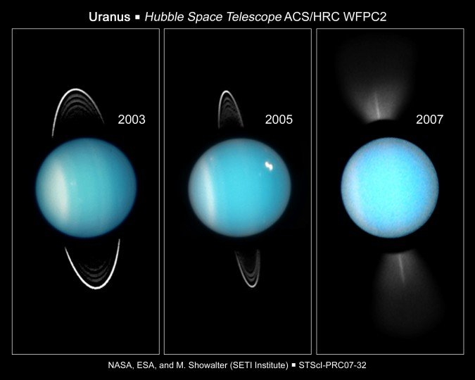 Images of Uranus captured by the Hubble Space Telescope. Image credit: NASA/ESA/Hubble