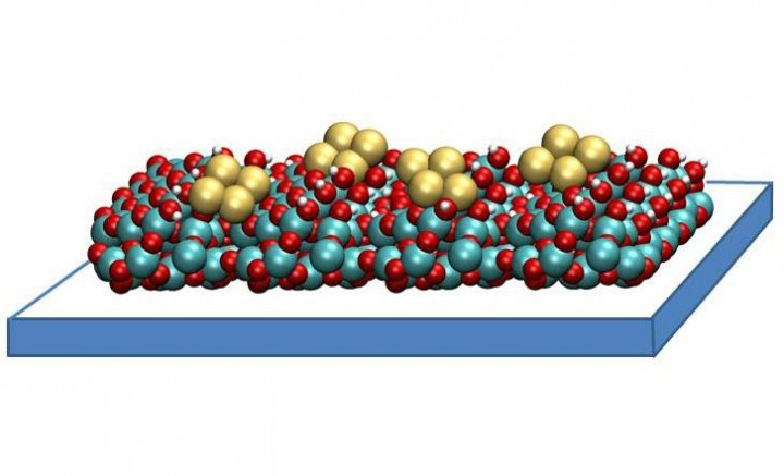 A copper tetramer catalyst created by researchers at Argonne National Laboratory may help capture and convert carbon dioxide in a way that ultimately saves energy. It consists of small clusters of four copper atoms each, supported on a thin film of aluminum oxide. These catalysts work by binding to carbon dioxide molecules, orienting them in a way that is ideal for chemical reactions. The structure of the copper tetramer is such that most of its binding sites are open, which means it can attach more strongly to carbon dioxide and can better accelerate the conversion. (Image courtesy Larry Curtiss)