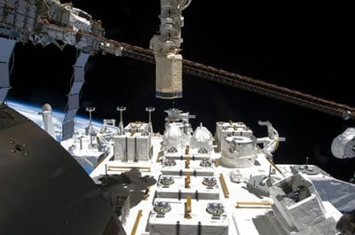 Watch this space. CALET, a high-energy astrophysics observatory, will be installed this week on the exposed terrace (above) of the Japanese Experiment Module on the International Space Station. NASA TV will live stream both the launch and the installation. Image credit: NASA
