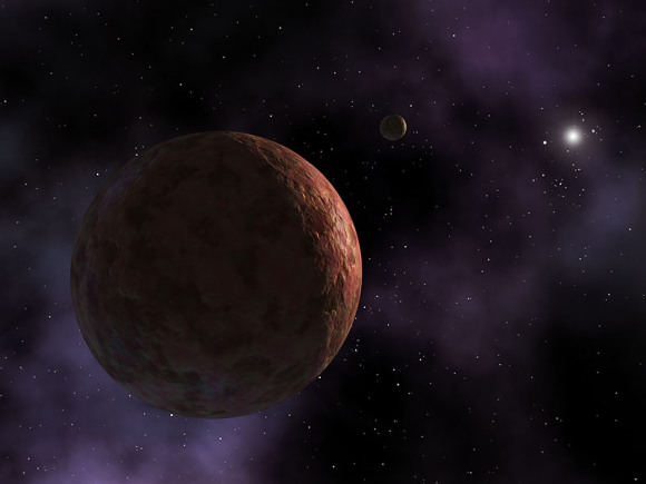 An artist's conception of Sedna. This depiction assumes that Sedna has a tiny as yet undiscovered moon. Image credit; NASA/JPl-Caltech