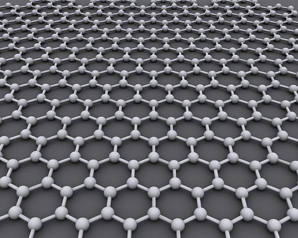 Graphene is only one atom thick material, which conducts electricity and heat with such efficiency that it is likely to revolutionize electronics. Image credit:  AlexanderAlUS via Wikimedia, CC BY-SA 3.0