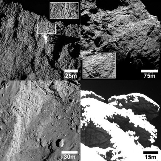 The surface of Comet 67P/C-G is extensively fractured due to loss of volatile ices, the expansion and contraction of the comet from solar heating and bitter cold and possibly even tectonic forces. The smaller polygonal shapes outlined by fractures in the lower right photo are just 6-16 feet (2-5 meters) across. Credit: ESA/Rosetta/MPS for OSIRIS Team MPS/UPD/LAM/IAA/SSO/INTA/UPM/DASP/IDA