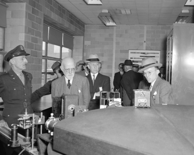 In 1943, Orville Wright (third from left in straw hat) visited the Aircraft Engine Research Laboratory in Cleveland, now known as NASA's Glenn Research Center. Credits: NASA