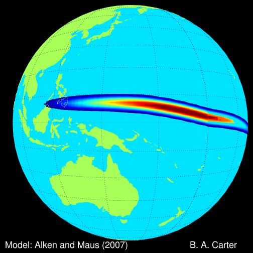 The equatorial electrojet is a naturally occurring flow of current approximately 100 kilometers (60 miles) above the Earth's surface. A new study shows it amplifies the effects of space weather near the equator, putting power grids at risk in regions previously thought to be less prone to space weather than high-latitude regions. Image credit: Brett A. Carter