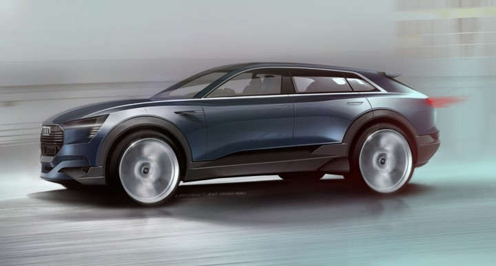 """Audi e-tron quattro concept follows Audi's """"Aerosthetics"""" idea – it combines styling with top aerodynamic solutions. SUV will have active aerodynamic features and class leading drag coefficient. Image credit: audi-mediacenter.com"""