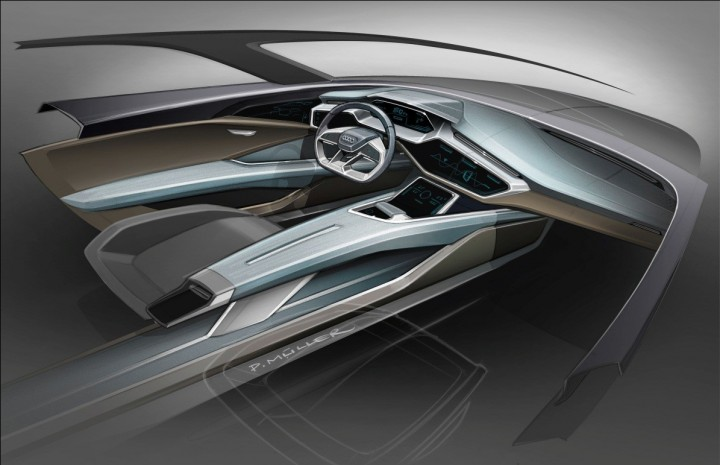 Audi e-tron quattro concept interior will have several modern OLED displays with gesture control. SUV will seat four people in spacious cabin and will have futuristic design with seemingly floating centre console. Image credit: audi-mediacenter.com