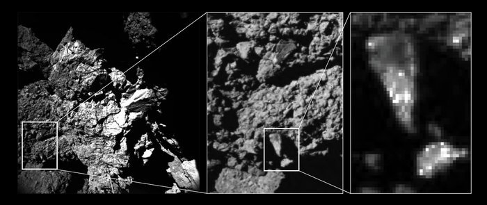Zooming in to a portion of the fractured cliff face imaged by CIVA camera 4 reveals brightness variations in the comet's surface properties down to centimetre and millimetre scales. The dominant constituents are very dark conglomerates, likely made of organics. The brighter spots could represent mineral grains, perhaps even pointing to ice-rich materials. The left hand image shows one of the CONSERT antennas in the foreground, which seems to be in contact with the nucleus. The dimensions of the antenna, 5 mm in diameter and 693 mm long, help to provide a scale to the image. Copyright ESA/Rosetta/Philae/CIVA
