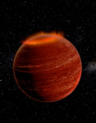 Artist conception of an aurora over the polar region of a brown dwarf. Image credit: Chuck Carter and Gregg Hallinan, Caltech.