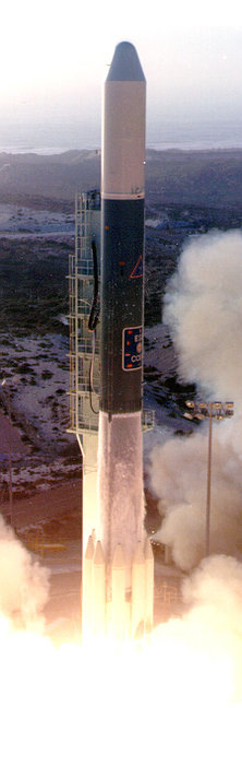 COS-B was launched by NASA on behalf of ESA on a Thor Delta 2913 launch vehicle from the Western Test Range, California, on 9 August 1975. Copyright NASA