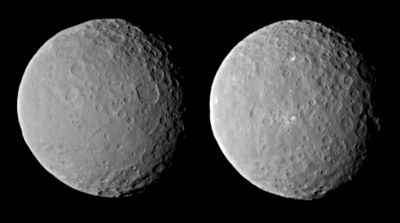 Images of dwarf planet Ceres from NASA's Dawn spacecraft, taken on Feb. 19th, 2015, from a distance of about 46,000 km (29,000 miles). Credit: NASA/JPL-Caltech/UCLA/MPS/DLR/IDA