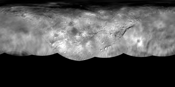 Global map of Pluto's moon Charon pieced together from images taken at different resolutions. Credit: NASA/Johns Hopkins University Applied Physics Laboratory/Southwest Research Institute