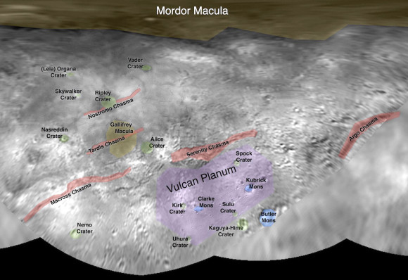 This image contains the initial, informal names being used by the New Horizons team for the features on Pluto's largest moon, Charon. Names were selected based on the input the team received from the Our Pluto naming campaign. Names have not yet been approved by the International Astronomical Union (IAU). Click for a large pdf file. Credit: NASA/Johns Hopkins University Applied Physics Laboratory/Southwest Research Institute