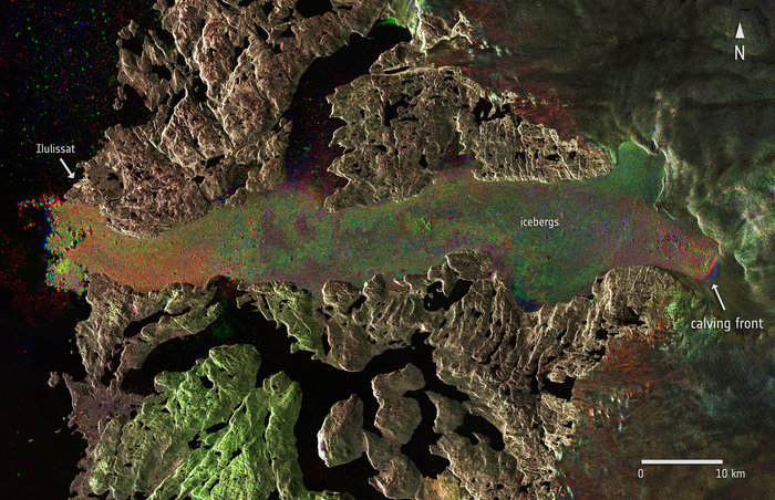 Radar images from Sentinel-1A captured the Jakobshavn glacier in western Greenland before and after a massive calving event, which took place between 14 and 16 August 2015. The image composite includes different Sentinel-1A images from 27 July, and 13 and 19 August. The red, green and blue indicate the position of the calving front and other dynamic features on each respective date. Copyright Copernicus Sentinel data (2015)/ESA