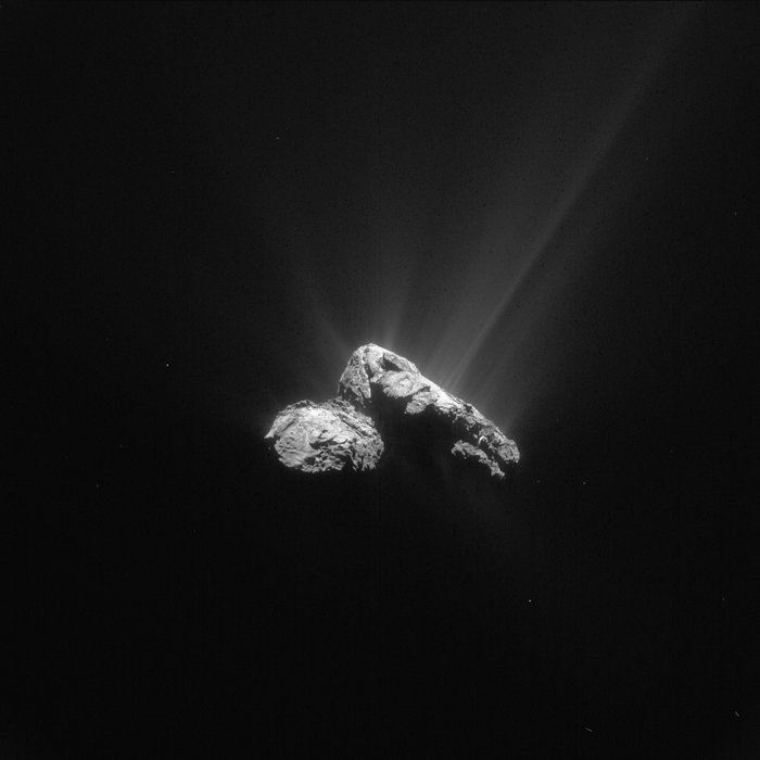 This single frame Rosetta navigation camera image of Comet 67P/Churyumov-Gerasimenko was taken on 30 July 2015 from a distance of 178 km from the comet centre. The image has a resolution of 15.2 m/pixel and measures 15.6 km across. Copyright ESA/Rosetta/NAVCAM – CC BY-SA IGO 3.0