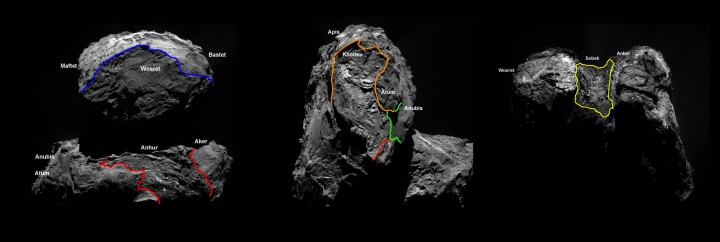 Four new regions, separated by distinct geomorphological boundaries, have been identified on the southern hemisphere of Comet 67P/Churyumov–Gerasimenko. The complex season cycle on the comet means the southern hemisphere – which includes part of both comet lobes – had been undergoing winter for over five years. Around May 2015, seasons on the comet changed, throwing the southern hemisphere into a short – approximately 10 month – summer and revealing parts of the surface that were previously cast in shadow. This allowed scientists to fill in some of the missing pieces of the comet's regional map. Like the 19 regions that had been identified in January 2015, the four new ones are named for Egyptian deities, following the ancient Egyptian theme of the Rosetta mission: Anhur, Khonsu, Sobek and Wosret. Anhur, Wosret, and Khonsu can be found on the underside of the comet's larger lobe; Sobek is located on the comet's neck. Copyright ESA/Rosetta/MPS for OSIRIS Team MPS/UPD/LAM/IAA/SSO/INTA/UPM/DASP/IDA