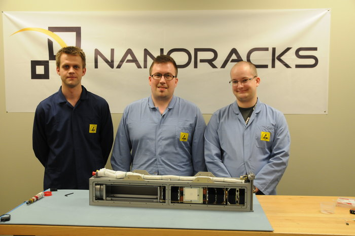 AAUSat-5 integrated in the NanoRacks CubeSat Deployer together with the GomX-3 CubeSat, also made in Denmark. The pair will be ESA's first CubeSats to be deployed from the International Space Station. They were delivered to the NanoRacks facility in Houston in June 2015. Copyright Aalborg University