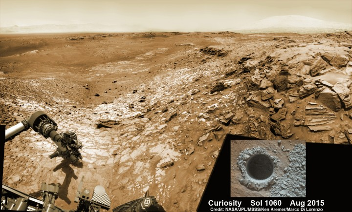 """Curiosity extends robotic arm and conducts sample drilling at """"Buckskin"""" rock target at bright toned """"Lion"""" outcrop at the base of Mount Sharp on Mars, seen at right, during August 2015. Gale Crater eroded rim seen in the distant background at left, in this composite multisol mosaic of navcam raw images taken to Sol 1059, July 30, 2015. Navcam camera raw images stitched and colorized. Inset: MAHLI color camera up close image of full depth drill hole at """"Buckskin"""" rock target on Sol 1060. Credit: NASA/JPL-Caltech/MSSS/Ken Kremer/Marco Di Lorenzo"""