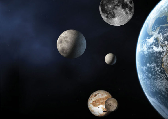An artist's concept showing the size of the best known dwarf planets compared to Earth and its moon (top). Eris is left center; Ceres is the small body to its right and Pluto and its moon Charon are at the bottom. Credit: NASA