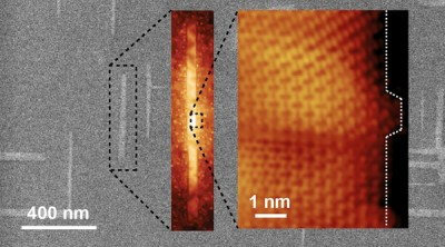 Progressively zoomed-in images of graphene nanoribbons grown on germanium. The ribbons automatically align perpendicularly and naturally grow in what is known as the armchair edge configuration. Image credit: Arnold Research Group and Guisinger Research Group