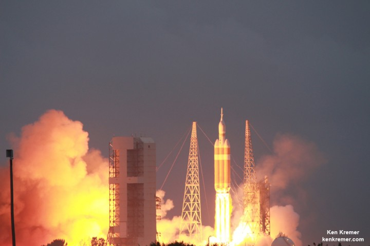 NASA's first Orion spacecraft blasts off at 7:05 a.m. atop United Launch Alliance Delta 4 Heavy Booster at Space Launch Complex 37 (SLC-37) at Cape Canaveral Air Force Station in Florida on Dec. 5, 2014. Credit: Ken Kremer