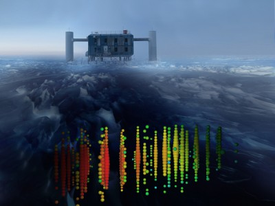 This photo illustration shows one of the highest-energy neutrino events of this study superimposed on a view of the IceCube Lab (ICL) at the South Pole. Evidence of the neutrinos heralds a new form of astronomy. Image credit: IceCube Collaboration
