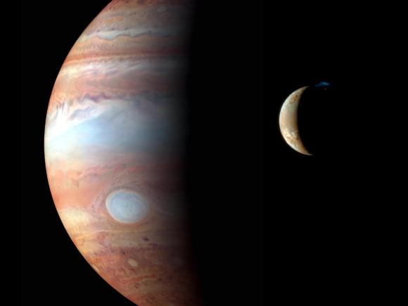 Io and Jupiter as seen by New Horizons during its 2008 flyby. Credit: NASA/Johns Hopkins University APL/SWRI