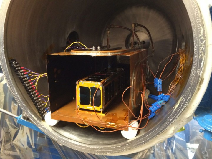 "A thermal vacuum test of the Low Mass Radio Science Transponder-Satellite (LMRST-Sat) was performed at California Polytechnic State University, San Luis Obispo, California, in February of this year. The six-hour test, carried out in a partial vacuum and at temperatures reaching 140 degrees Fahrenheit (60 degrees Centigrade) was performed to ""bake out"" any contaminants present on the CubeSat's surfaces. Image credit: NASA/JPL-Caltech"