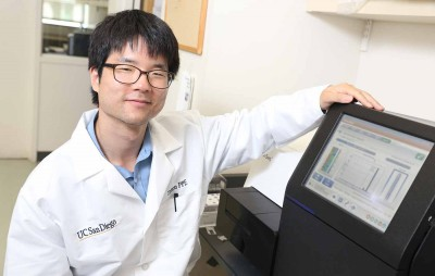 Laurence Yang PNAS paleome paper. Caption: Laurence Yang, a postdoctoral researcher in Palsson's Systems Biology Research Group at UC San Diego and a co-first author of the paper.
