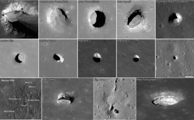 "NASA has been investigating features on the lunar landscape that may be ""skylights,"" or openings to larger caves below the moon's surface. This graphic features a number of likely skylights from the Marius Hills region. Image credit: NASA"