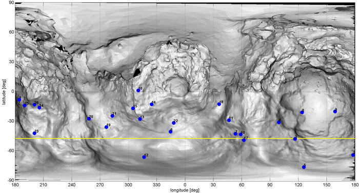 This is a projected map of Comet 67P/Churyumov–Gerasimenko using data from Rosetta's OSIRIS camera. It is based on a cylindrical projection, a procedure that is routinely used to chart the surface of planets, moons and other (roughly) spherical celestial bodies. The intricate appearance is caused by the unusual, double-lobed shape of this comet: the small lobe is shown at the centre of the map, while portions of the large lobe are shown to the left and right. The blue points refer to possible origins, on the surface of the comet, of some of the dust jets recently observed by OSIRIS. The yellow line indicates the sub-solar line, which traces out the points on the surface where the Sun is directly overhead. Copyright ESA/Rosetta/MPS for OSIRIS Team MPS/UPD/LAM/IAA/SSO/INTA/UPM/DASP/IDA