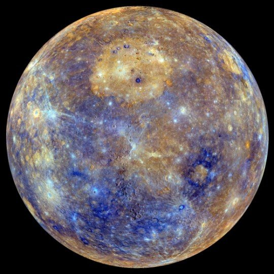 An enhanced-color view of Mercury, assembled from images taken at various wavelengths by the cameras on board the MESSENGER spacecraft. Credit: NASA / Johns Hopkins University Applied Physics Laboratory / Carnegie Institution of Washington