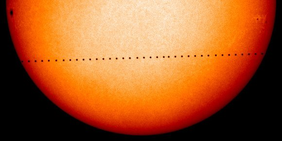 Mercury's path across the solar disk as seen from the Solar and Heliospheric Observatory (SOHO) on November 8th, 2006. The transit was visible in eastern Europe and the eastern hemisphere. Credit: NASA.