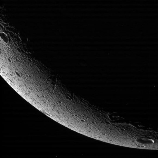 The limb of Dione on close approach. Image credit: NASA/JPL-Caltech/Space Science Institute