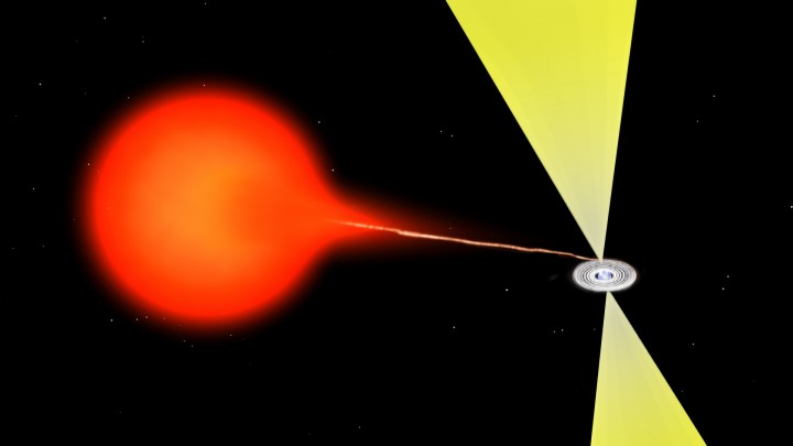 Artist's impression of material flowing from a companion star onto a neutron star. The material forms an accretion disk around the neutron star and produces a superfast jet of ejected material. The material closest to the neutron star is so hot that it glows in X-rays, while the jet is most prominent at radio wavelengths. A similar mechanism is at work with black holes. Image credit: Bill Saxton, NRAO/AUI/NSF.