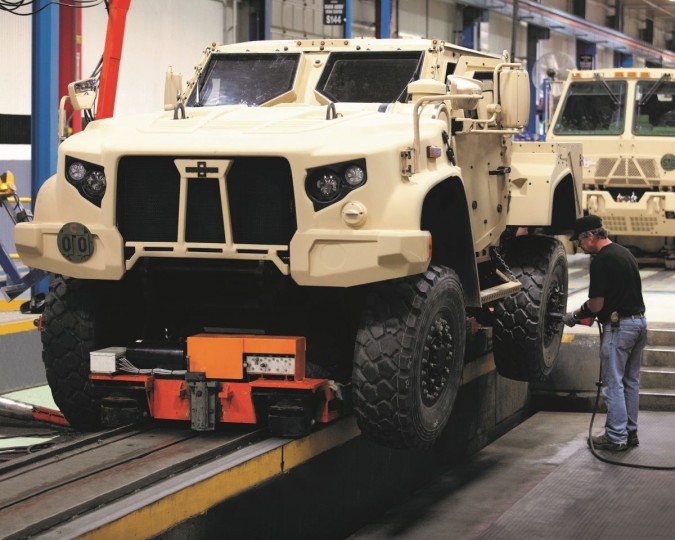 Oshkosh JLTV being assembled. Company expects to build around 17,000 of these vehicles, because they exceed all expectations for mobility, efficiency and crew protection and is packed full of latest technology. Image credit: oshkoshdefense.com