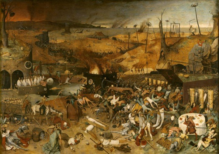 Pieter Bruegel's famous painting depicting the grievous social consequences the pandemic left in its wake. Image courtesy of museodelprado.es, CC0 Public Domain.