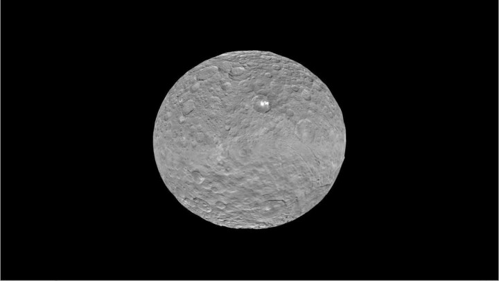 Global view of Ceres uses data collected by NASA's Dawn mission in April and May 2015. The highest-resolution parts of the map have a resolution of 1,600 feet (480 meters) per pixel. Credits: NASA/JPL-Caltech/UCLA/MPS/DLR/IDA/LPI/PSI