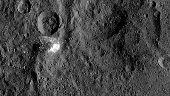 An upside down look at the conical mountain on Ceres (in case you have trouble seeing it as a mountain!). Credit: NASA/JPL-Caltech/UCLA/MPS/DLR/IDA