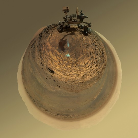 """This version of a self-portrait of NASA's Curiosity Mars rover at a drilling site called """"Buckskin"""" is presented as a stereographic projection, which shows the horizon as a circle. Credit: NASA/JPL-Caltech/MSSS"""