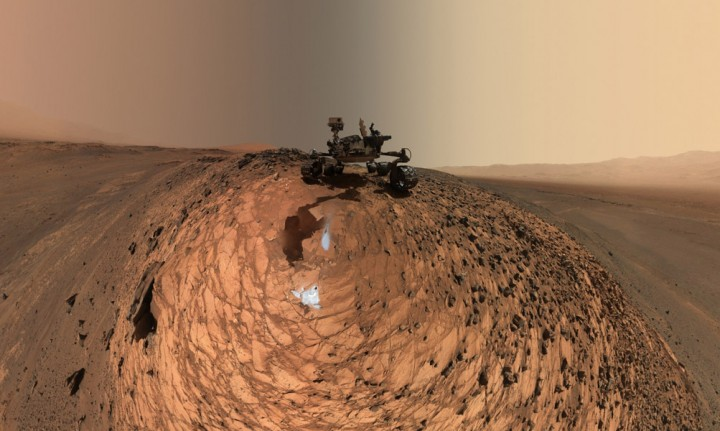 """This low-angle self-portrait of NASA's Curiosity Mars rover from Aug. 5, 2015, shows the vehicle above the """"Buckskin"""" rock target in the """"Marias Pass"""" area of lower Mount Sharp. Credit: NASA/JPL-Caltech/MSSS"""