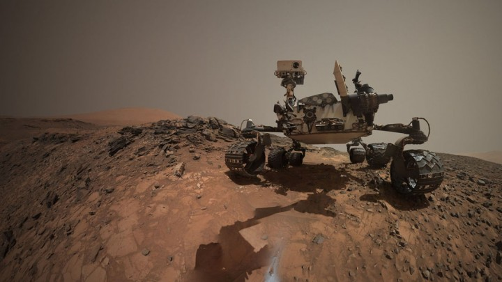"""This low-angle self-portrait of NASA's Curiosity Mars rover shows the vehicle at the site from which it reached down to drill into a rock target called """"Buckskin."""" Credit: NASA/JPL-Caltech/MSSS"""