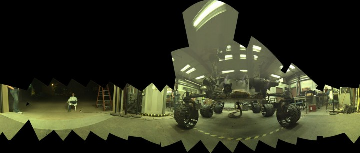 This view of a test rover at NASA's Jet Propulsion Laboratory in California results from advance testing of arm positions and camera pointings for taking a low-angle selfie of NASA's Curiosity Mars rover. Credit: NASA/JPL-Caltech/MSSS