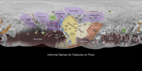 This image contains the initial, informal names being used by the New Horizons team for the features and regions on the surface of Pluto. The IAU will still need to give final approval. Click for a large pdf file. Credit: NASA/Johns Hopkins University Applied Physics Laboratory/Southwest Research Institute