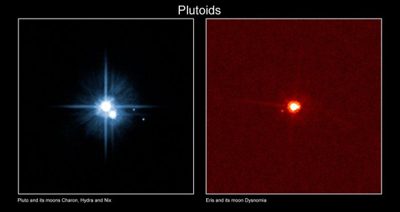 Pluto and moons Charon, Hydra and Nix (left) compared to the dwarf planet Eris and its moon Dysmonia (right). Credit: International Astronomical Union