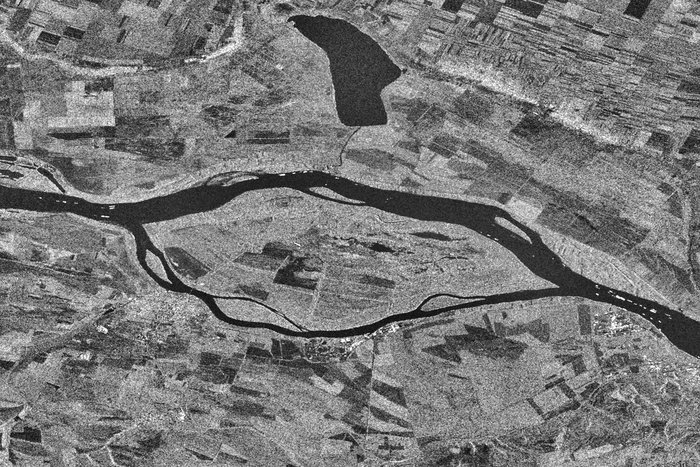 Ships queuing along the Danube river near the Romanian town of Zimnicea, captured by Sentinel-1A on 2 August 2015. Copyright Copernicus Sentinel data (2015)/ESA