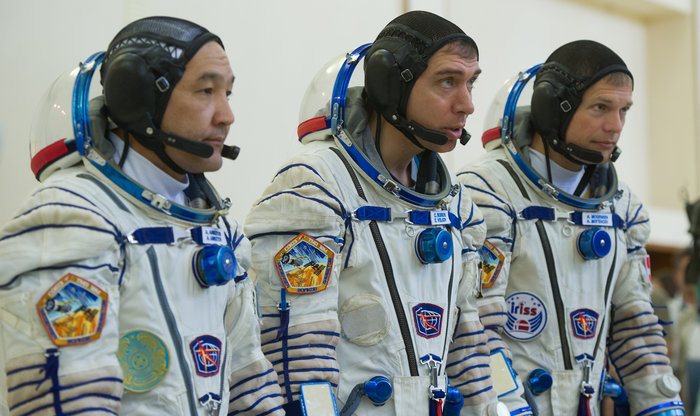 From left: Kazakh cosmonaut Aidyn Aimbetov, Soyuz spacecraft commander Sergei Volkov and ESA astronaut Andreas Mogensen during their final Soyuz spacecraft exams at the Yuri Gagarin Cosmonaut Training Centre in Moscow, Russia, on 7 August 2015. The trio will leave Earth for the International Space Station on 2 September for a ten-day mission. Copyright GCTC